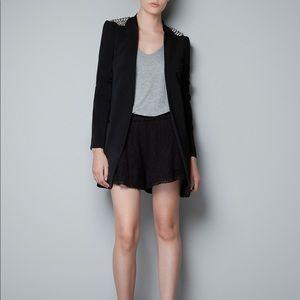 Zara black spiked shoulder blazer